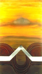 Desert Sunset abstract acrylic painting