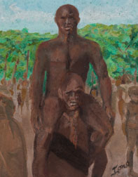 Brothers african original pastel on paper painting