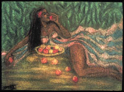 Apples and Oranges african original pastel on paper