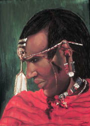 Masai Warrior african pastel painting