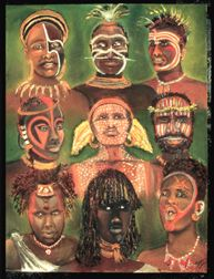 The Tribe african pastel on paper painting