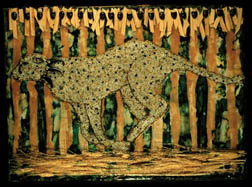 Cheetah, animal painting, mixed media on wood