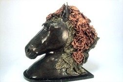 Seabiscuit,animal  bronze and marble sculpture