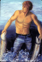The Fisherman, figure painting, oil on canvas