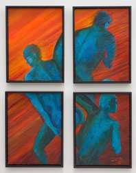 Separation, figure acrylic painting - 4 panels separated