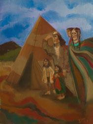 The Coming, southwest indian pastel