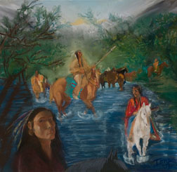 The Search Party, southwest indian pastel