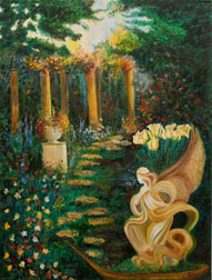 Guardian Angel landscape original oil on canvas painting