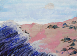 Pink Sand Beach landscape watercolor painting