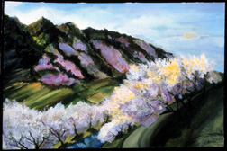 Purple Hills landscape original oil on canvas painting