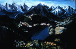 Sapphire Lake landscape original oil on canvas painting