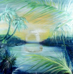 silver pond landscape oil painting