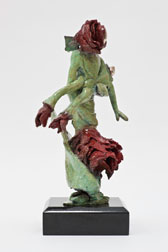 Rose and Bud - bronze sculpture, back view