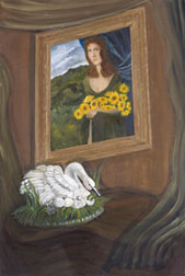 Dark Eyes, still life painting, oil on canvas