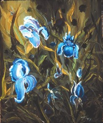 Irises still life floral painting
