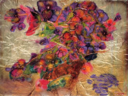 Purple Pansies still life floral painting
