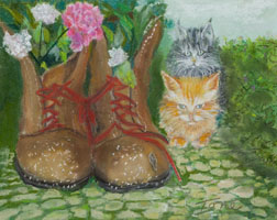 Puss N' Boots still life animal painting