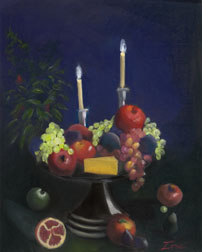 Romantic Repast, still life painting, oil on canvas