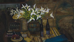 The Wine Tasting, still life painting, oil on canvas